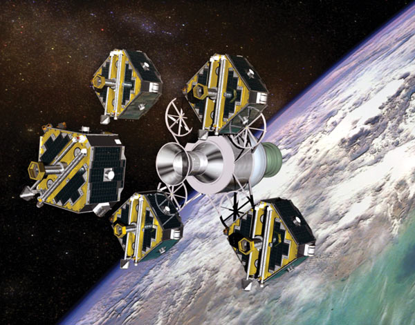 The five THEMIS spacecraft are released from the carrier after being launched together.